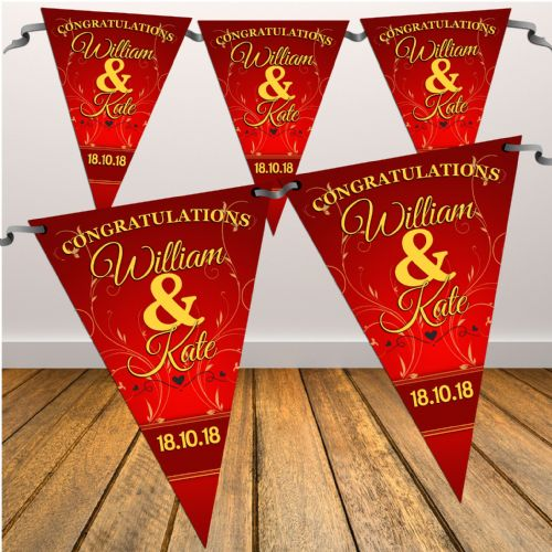 Personalised Red & Gold Wedding / Ruby Anniversary Engagement Flag Banner Bunting - N7